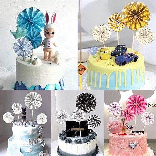 4pcs/set  Folding Fan Cake Topper Dessert Table Birthday Party Decoration Kids Baby Shower Wedding Decorations Cake Decoration-S