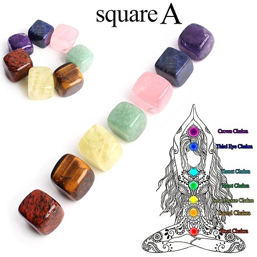 7pcs/Set Natural Square Chakra Stone Colorful Crystal Palm Rough Gemstones Minerals Specimen Reiki Healing Gift Collection Decor
