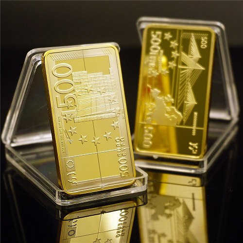 European Gold Bar Gold Plated Metal Bars 500 Euro Banknote Souvenir Bars Festival Gifts Collection Non-currency Coins