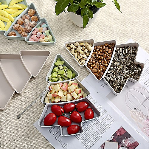Creative Lazy Snack Bowl Christmas Tree Shape Candy Snacks Plastic Double-Layer Snack Storage Box Bowl Fruit Bowl Chase Artifact