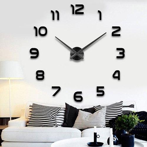 37/50 inches clock fashion 3D big size wall clock mirror sticker DIY brief living room decor meetting room wall clock