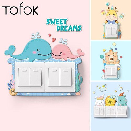 Tofok Soft Plastic Animal 3D Switch Sticker Cartoon Wallpaper Poster Kids Room Art Mural Decal Home Office Decoration