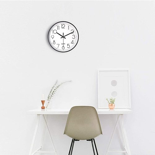 10 Inch Silent Non-Ticking Wall Clock,Battery Operated, Decorative for Kitchen Office School Home Living Room Bedroom