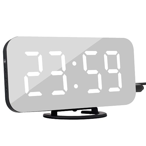 Alarm Clock Digital Electronic Clock Smart LED Display Time Table Desk 2 USB Charger Ports For Phone Mirror Snooze Watch 2 Color