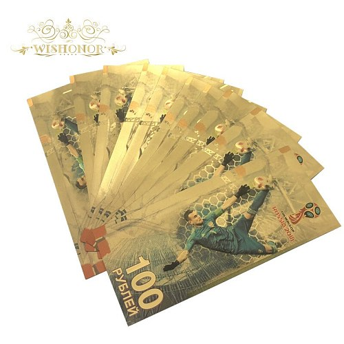 10pcs/lot New Products For 2018 Russia World Cup Akinfeev 100 Roubles Banknote in 24k Gold Plated as Souvenir Gift by EMS