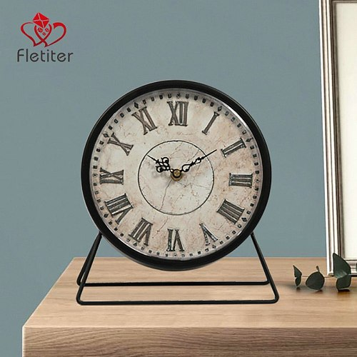 Retro Clock Desk & Table Analog Clock Battery Operated with Silent Sweep Mechanism,American Style Decoration Clock for Home
