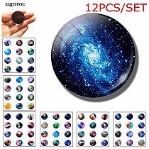 12pcs Romantic mysterious planet nebula Fridge Magnet 25MM Glass Note Holder Decoration Refrigerator Magnetic Sticker Home Decor