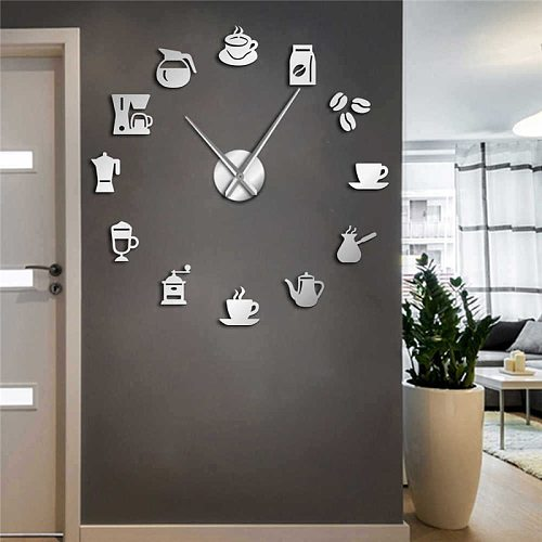 DIY new modern design wall clock 3D coffee cup shape acrylic home clocks for kitchen dinner room decor mirror silent horologe
