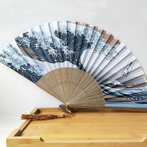 1PCs Silk Hand Fan Mount Fuji Kanagawa Waves Japanese Folding Fan Pocket Fan Wedding Party Decoration Gifts Home Wall Decoration