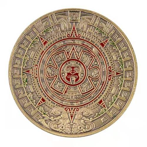 American Mayan commemorative coins, pyramids, sundials, gold coins, lacquered calendar, Aztec gold-plated and silver-plated comm