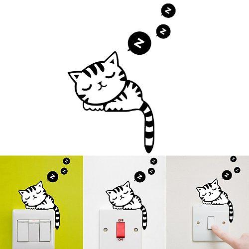 1Pcs PVC Cat Switch Sticker Wall Sticker Funny DIY Bathroom Parlor Decal Decoration