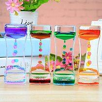 1pcs Double Color Sand Hourglasses Floating Oil Liquid Visual Motion Timer Glass Acrylic Clock Home Decoration Desk Ornament