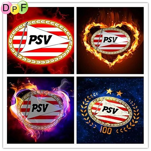 DPF 5D Diy Diamond Painting Cross Stitch Embroidery Mosaic football  psv  Logo Full Square/Round Drill Home Decor Wall Painting