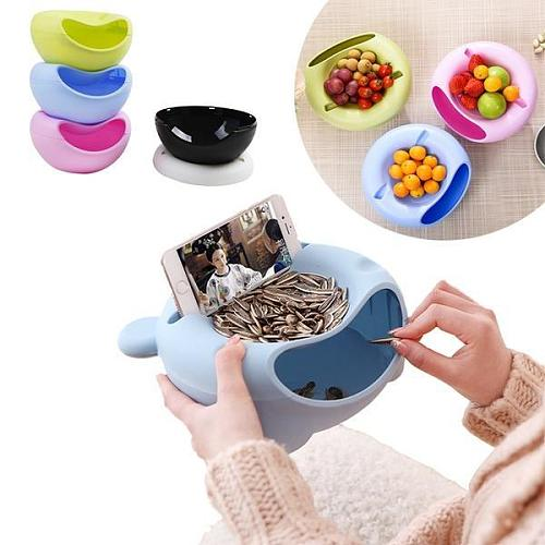 Creative Multi-Style Shape Lazy Snack Bowl Plastic Double Layers  Storage Box Fruit Plate With Phone Holder