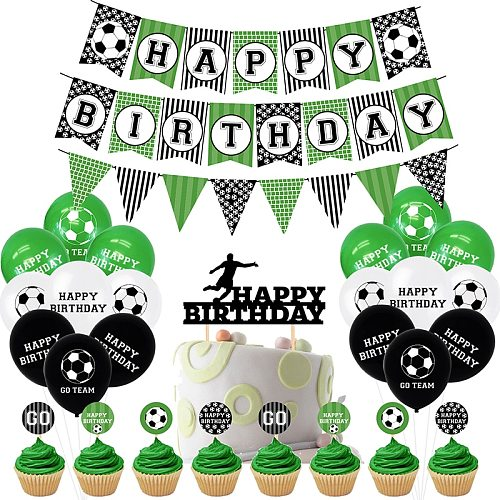 Football Theme Birthday Party Supplies Latex Balloon Happy Birthday Banner Cake Topper Cool Birthday Party Decor For Soccer Fans