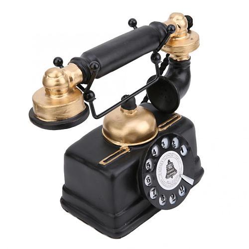 Resin Old Vintage Telephone Model Retro Antique Wired Corded Landline Phone Ornament Home Office Cafe Desk Decoration Figurine