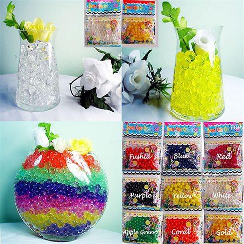 100 PCS Pearl Shaped Hydrogel Crystal Soil Grow Up Water Beads Cute Hydrogel Magic Gel Jelly Balls Orbiz Sea Babies Home Decora