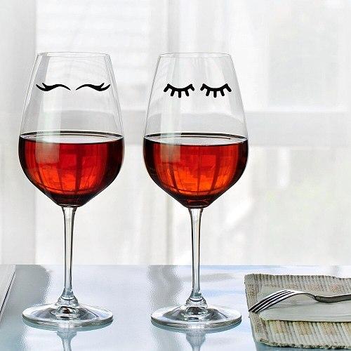 YOYOYU 15pcs 7.5cm width Eyelash Stickers - eye Decal - Coffee Cup Sticker -goblet decals wedding Party Tumbler Wine Glass J6001
