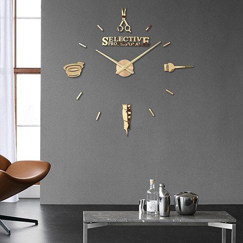 Fashion Simple Haircut Tools EVA Clock Hairdressing DIY Acrylic Creative 3D Wall Stickers Stereo Watches Custom