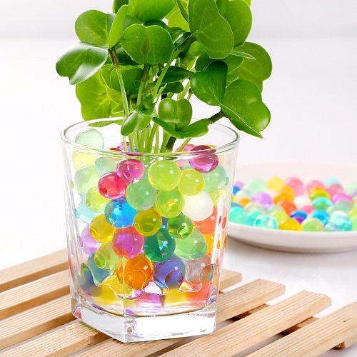 100pcs Crystal Soil Pearl Shape Mud Hydrogel Gel Kids Children Toy Growing Up Water Balls Wedding Home Ornament Plant Decoration