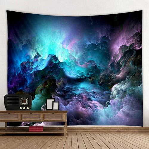 Psychedelic Bohemian Mandala Printed Polyester Tapestry Wall Hanging For Decorate Home Living Room Bedroom Office 9 Sizes