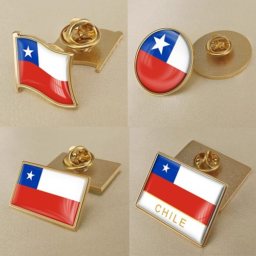 Coat of Arms of Chile Chilean Map Flag National Emblem National Flower Brooch Badges Lapel Pins