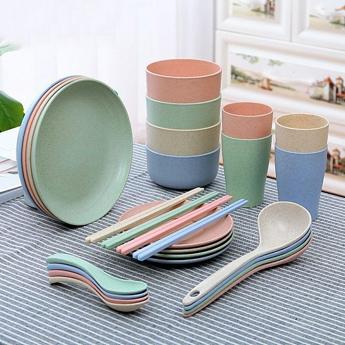 Eco-friendly Wheat Straw Bowl Plastic Bowl Household Cup Plate Single Pack Cereal Bowl Fruit Fork Gift Gift Tableware Rice