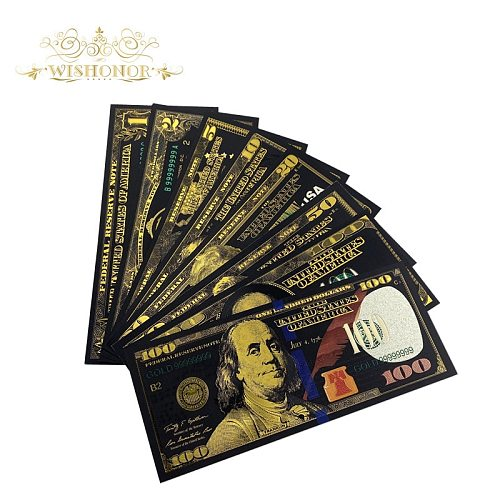New Design For 2021 USA $1-100 Dollar Gold Banknote Colorful World Money For Souvenirs Golden Bank Notes For Drop Ship
