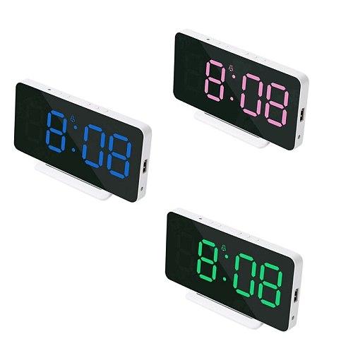 Digital Desk Alarm Clock Mirror Date Temperature LED Display,USB Port,Bedside Table Snooze Clocks for Bedroom Home