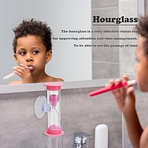 2min Plastic Hourglasses + Suction Gift Sandglass Cup Lightweight Children Timer for Household Kids Students Decoration