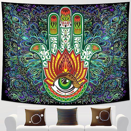 Indian Buddha Meditation Psychedelic Scene Home Decor Tapestry Bohemian Decor Hippie Bedroom Bed Sheet Mandala Sofa Blanket