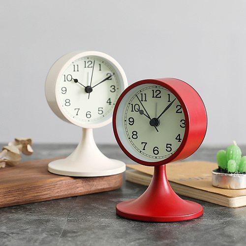 Antique Metal Non-radiation Mute Alarm Clock Living Room Bedroom Table Clock Retro Classic Student Watch