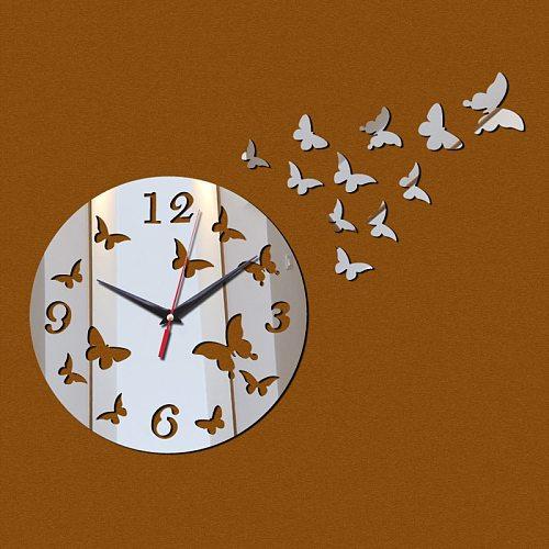 new acrylic clocks 3d wall stickers diy mirror clock living room europe needle quartz modern design watch