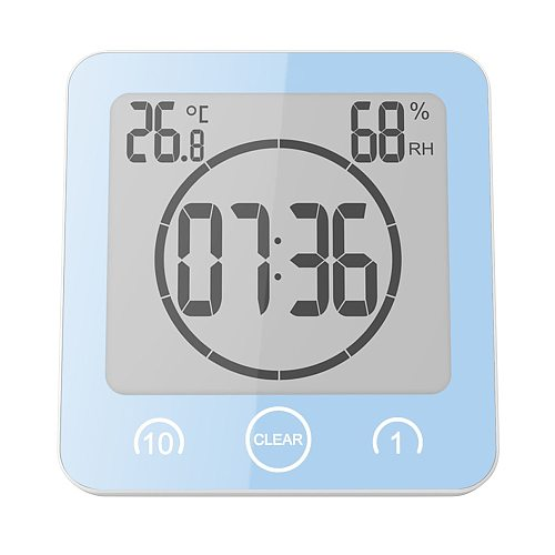 LCD Bathroom Wall Clock Shower Clocks Timer Digital Waterproof Water Splashes  Temperature Humidity Kitchen Washroom Time