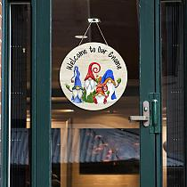 1pc Welcome Pendant Cartoon Rudolph Welcome Board Decor Home Door Hanging Decor