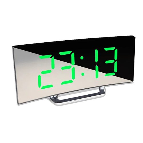 Large Screen LED Curved Surface Mirror Clock Silent Alarm Clock Desk Home Decoration Power Saving Data Storage Clock