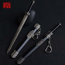 Alloy Sword Toy 17cm Keychain Chinese Ancient Sword with Sheath Weapon Model Decoration Gift Children Toy