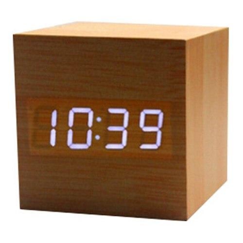 Wooden LED Alarm Clock Wooden Retro Glow Clock Desktop Table Decoration Voice Control Snooze Function Desk Tool