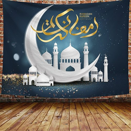 2020 Hot Background Cloth Wall Muslim Ramadan festival Decoration Moon Hanging Tapestry Home Mural Beach Towel Ramadan Tapestry