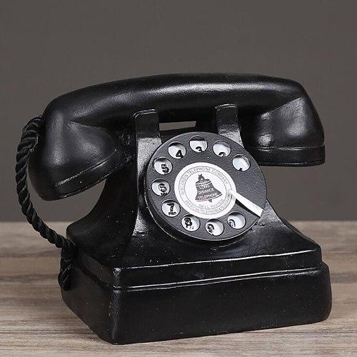 Large Creative Retro Decorative Phone Model, Vintage Rotary Telephone Decoration Statue Antique Phone Figurine for Cafe Bar Home