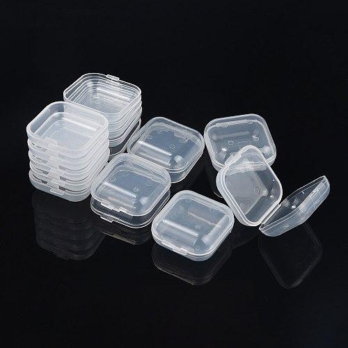 10Pcs Portable Transparent Flip Jewelry Box Square Plastic Small Storage Boxes Bottles,Jars & Boxes Home Storage & Organization
