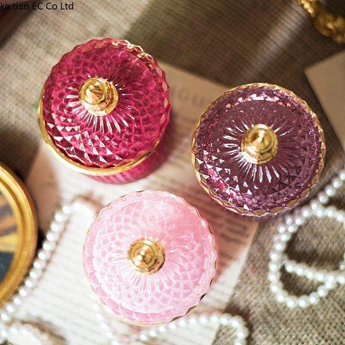 French Art Luxury Multicolor Glass Storage Jar Aromatherapy Bottle with Lid Minimalist Household Cotton Swab Jewelry Storage Box