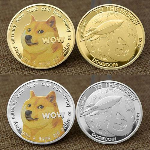 Beautiful Gold Plated Dogecoin Commemorative Coins Creative Cute Dog Pattern Dog Souvenir Collection Gifts Non-currency Coins