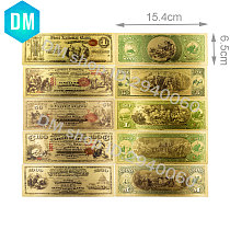 1875 Year American Gold Banknote Collectible 1 5 50 100 1000 Dollar 24k Gold Plated Fake Money Set Quality World Paper Money