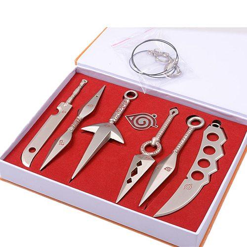 7Pcs/Set Alloy Toy Swords Military knife Hatake Kakashi Deidara Kunai Shuriken Figure Weapons Toys Cosplay Toy Boy Gift