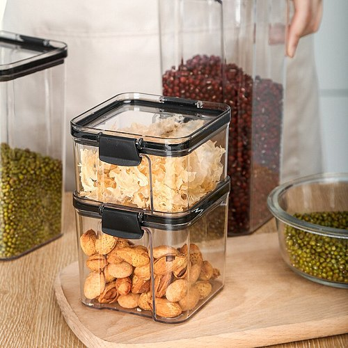 Food Grade Storage Box Closed Tank Transparent Bottle Jar Container Snack Nuts Grain Coffee Storage Kitchen Home