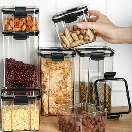 Sealed Tank Kitchen Grain Storage Box Square Transparent Food Canister Snack Keep Fresh Clear Jar Container Bottles
