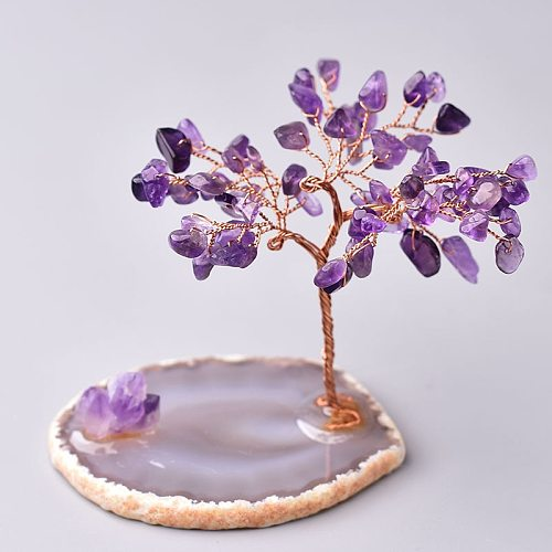 Natural Crystal Tree Amethyst Rose Quartz Aquamarine Lucky Tree Decoration Agate Slices Stone Mineral Ornaments Office decor