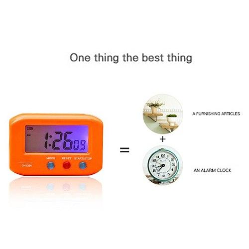 Portable Electric Clock Desktop Electronic Alarm LCD Screen Data Time Calendar Small Table Desk Clock For Bedroom