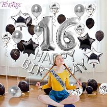 FENGRISE Silver Balloon Decor Sweet 16 Party Decorations Happy Birthday Decorations 16th Birthday Party 16 Birthday Sash Banner